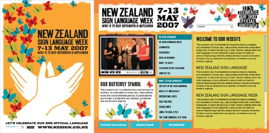 NZSL Week 2007 website and poster image