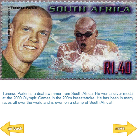 Terence Parkin, South African Deaf Swimmer on a postage stamp